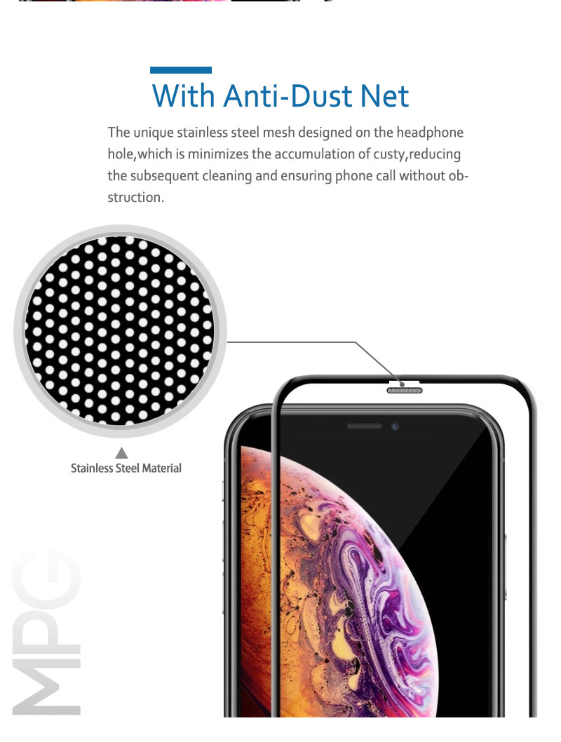 9H 0.33mm Dust Proof Tempered Glass screen protector 3D high clear dust proof full cover for iPhone Xs Xr Xs Max