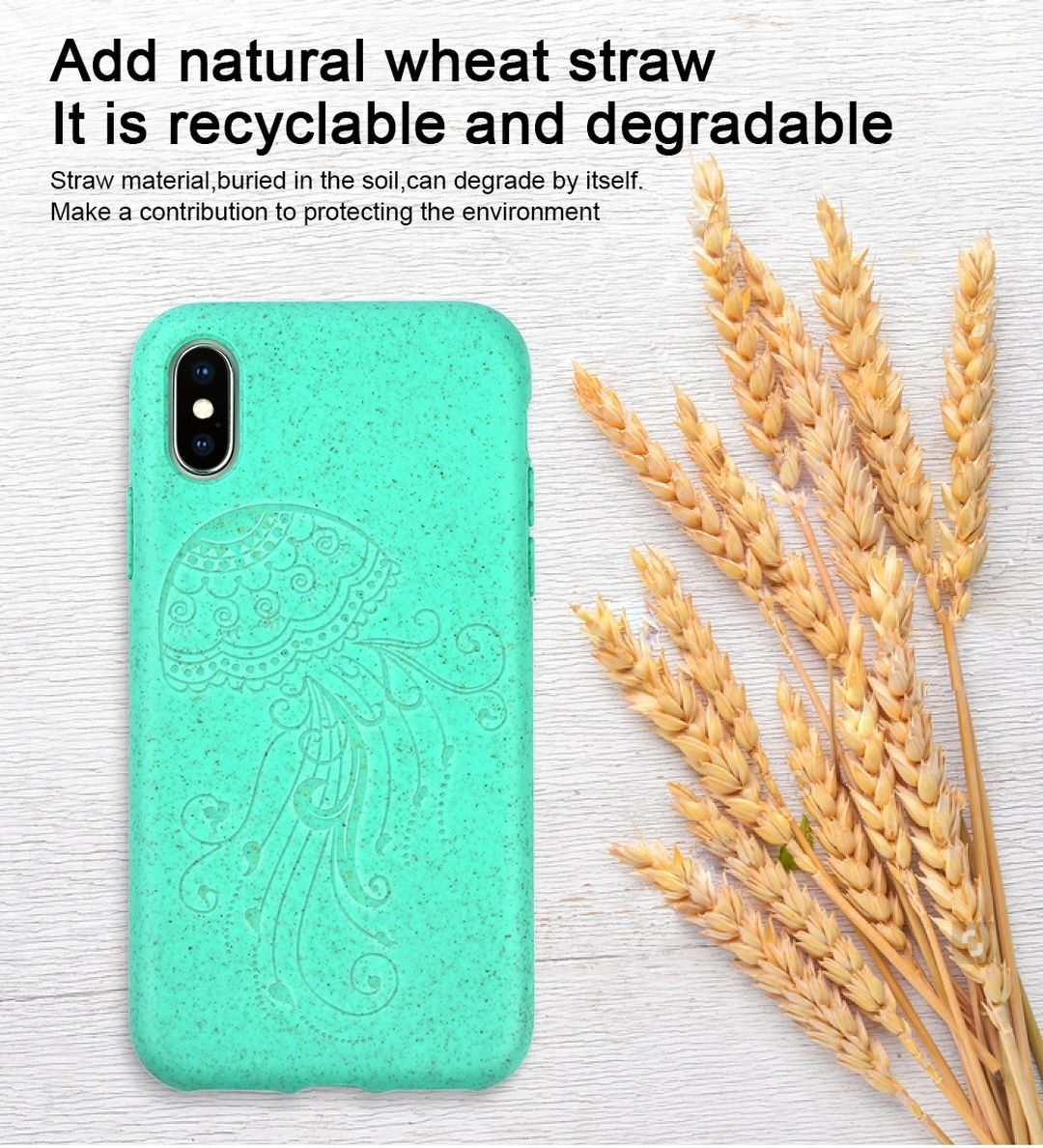 OEM Customized logo Eco-friendly Biodegradable Recycle Organic Wheat Straw Cell Phone Case For iphone